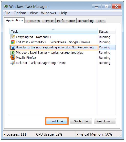 How to fix the not responding error