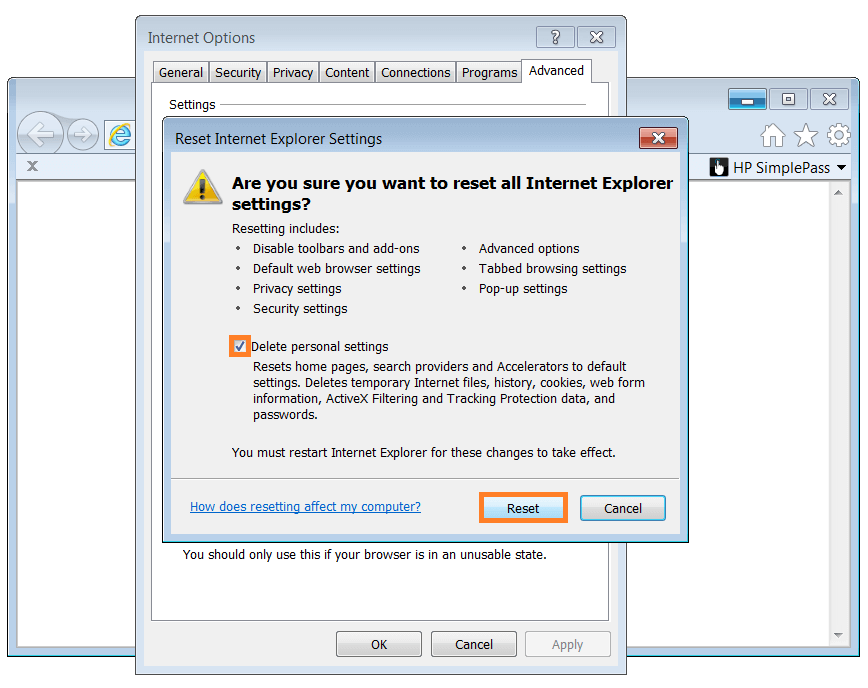 Microsoft Security Essentials - Internet Options - Reset - Reset Internet Explorer Settings - Windows Wally