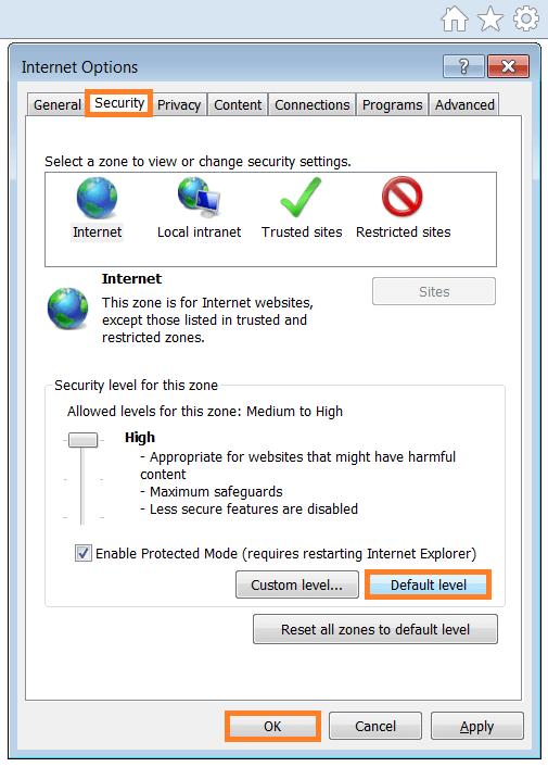 Script Errors - Internet Options - Security tab - Default level - WindowsWally