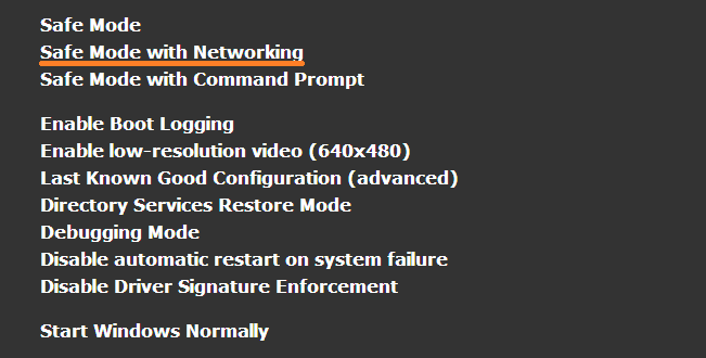 Safe Mode - Advanced Boot Options - With Networking - WindowsWally