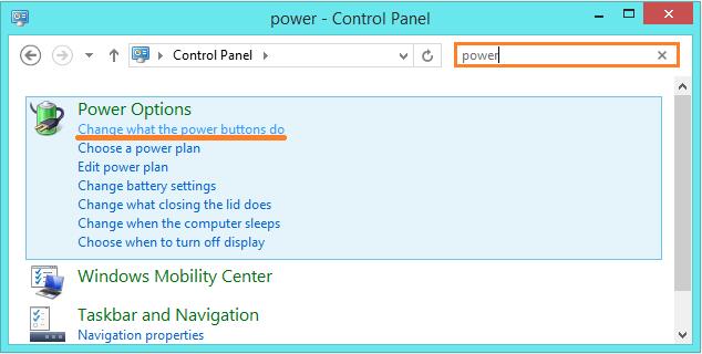 Windows 8 Shut Down - control panel - power options -- Windows Wally