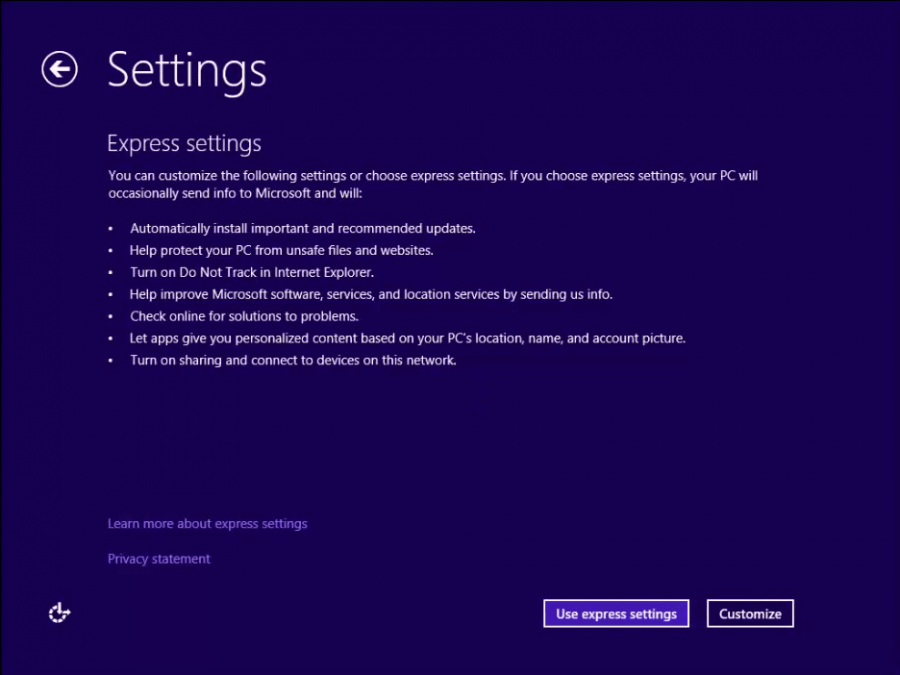 Install Windows 8 - 5 -  Settings - WindowsWally
