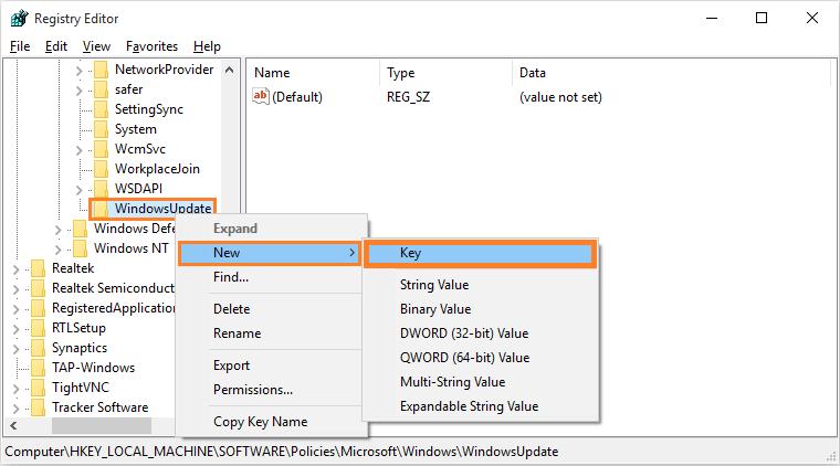 disable windows 10 updates registry