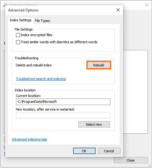 Windows 10 - Start Menu - Control Panel - Indexing Options - Advanced - Rebuild -- Windows Wally