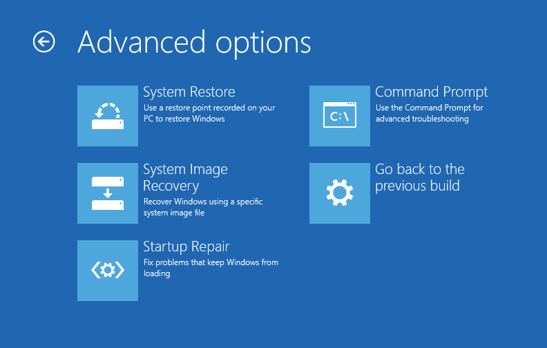 Windows 10 - Fix Windows 10 - Screen 3 - Troubleshoot (screen) - Advanced Options (screen) -- Windows Wally
