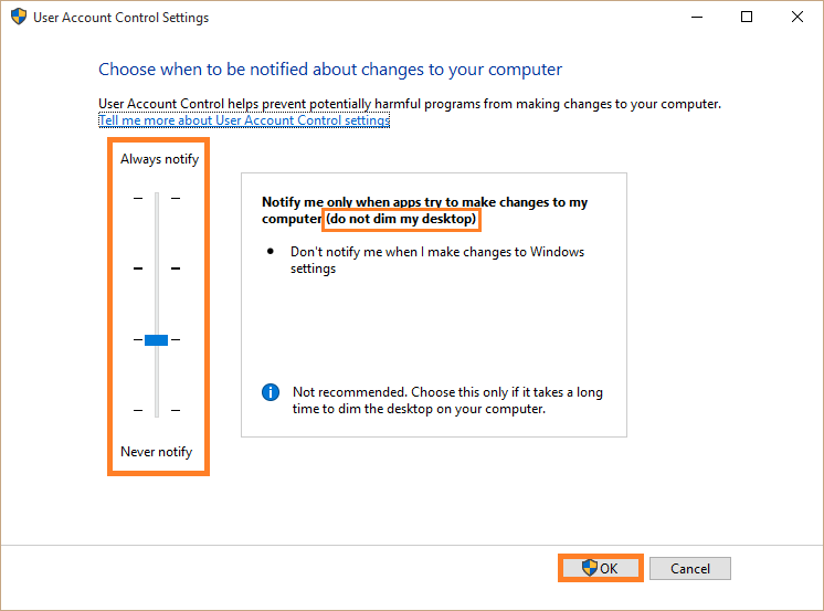 Disable - Change User Account Control settings  - 2 -- Windows Wally