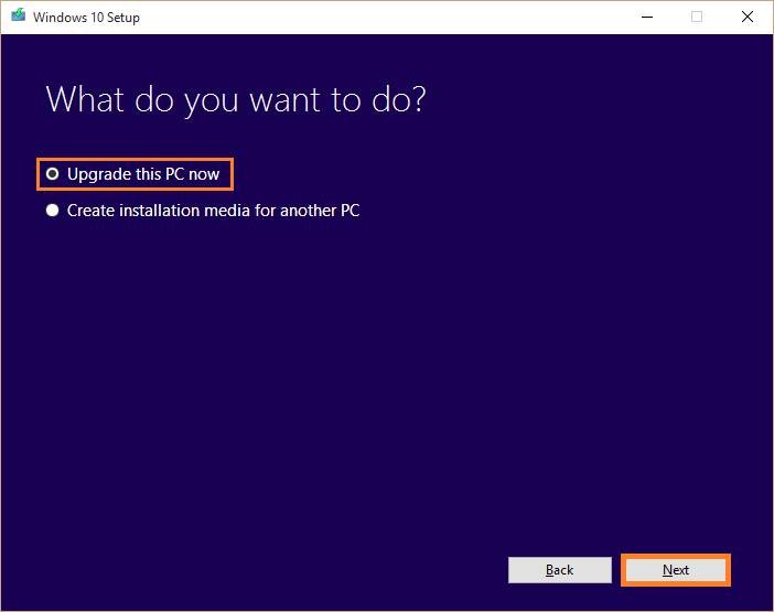 Windows Update -- Media creation tool - Upgrade this PC now - Windows Wally