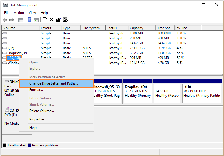 Windows 10 - Disk management - Right-click - Change Drive Letter and Paths... - WindowsWally
