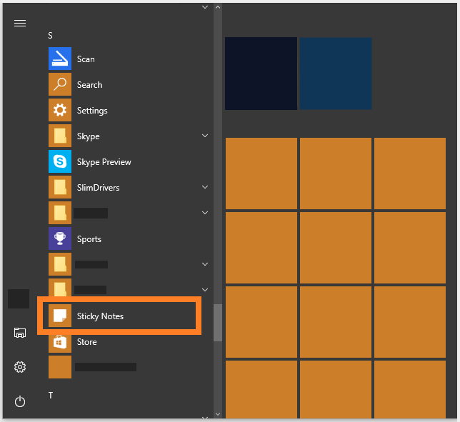 Sticky Notes - Windows 10 - Windows Key - under S - Windows Wally