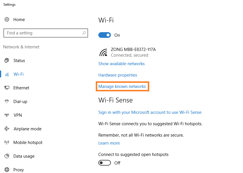 Windows 10 - WiFi - Change Wifi settings - 2 - Windows Wally